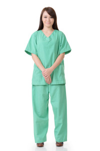 Asian woman of healthcare worker isolat on white background.