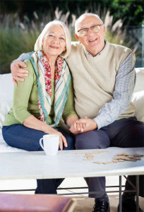 Happy senior couple in independent living facility